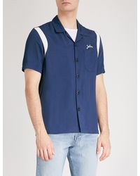 de711c758275 Lyst - Sandro Embroidered Satin Bowling Shirt in Blue for Men