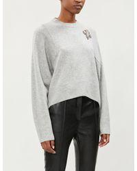 The Kooples Gray Fleur-de-lis Appliqué Cropped Cashmere Jumper