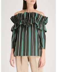 Claudie Pierlot Off-the-shoulder Gathered Striped Cotton-poplin Top Black