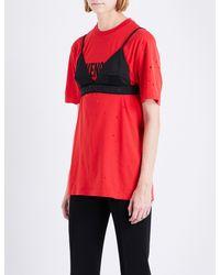 05a4abe76baf1 Lyst - Givenchy Logo Satin Bralette in Black
