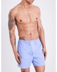 Zimmerli - Blue Woven Cotton Boxer Shorts for Men - Lyst