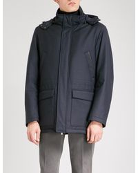 Canali Blue Detachable Hood Quilted Wool-blend Jacket for men