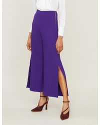 Roland Mouret Purple Glover Wool-crepe Trousers