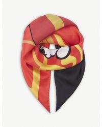 Moschino Red Betty Boop Foulard Silk Scarf