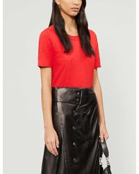 Whistles Red Rosa Double-trim Cotton T-shirt