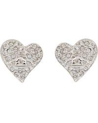 Vivienne Westwood - White Diamanté Heart Stud Earrings - Lyst