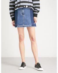 McQ Alexander McQueen - Blue Contrast-panel High-rise Denim Mini Skirt - Lyst