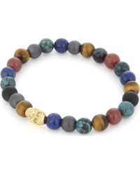 Nialaya | Multicolor Multi-coloured Bead And 18ct Gold-plated Skull Bracelet for Men | Lyst