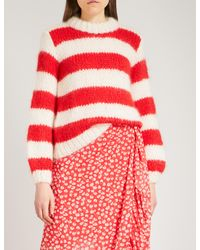 Ganni Red Julliard Mohair And Wool-blend Jumper