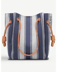 Loewe Blue Flamenco Knot Striped Canvas Shoulder Bag