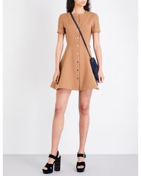 Maje Natural Rimello Button-through Cotton-blend Dress