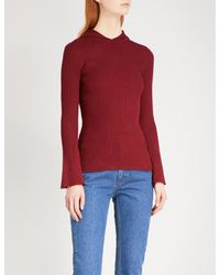 Sandro Hooded Flared-sleeve Knitted Top