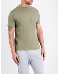 Sunspel - Green Crewneck Cotton-jersey T-shirt for Men - Lyst