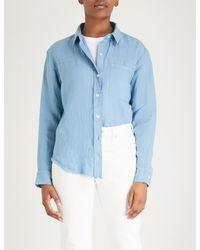 FRAME Blue Pocket-detail Linen Shirt