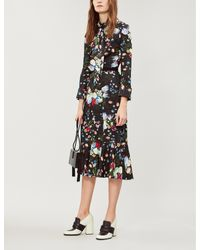 Erdem Black Hilma Floral-print Stretch-jersey Midi Dress
