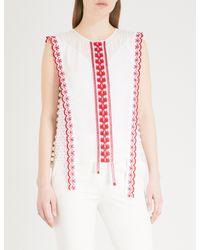 Altuzarra White Alma Embroidered Cotton Top