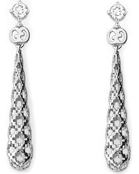 Gucci - Metallic Diamantissima 18ct White-gold And Diamond Drop Earrings - Lyst