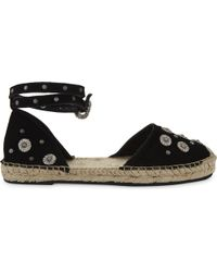 The Kooples - Black Embellished Daisy Suede Espadrilles - Lyst