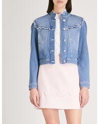 Claudie Pierlot Blue Broderie-trim Denim Jacket