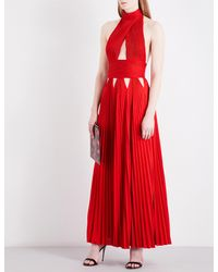 Givenchy Red Cutout-detail Halterneck Woven Gown