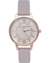 Olivia Burton Metallic Ob15wd51 Wonderland Rose Gold And Leather Watch