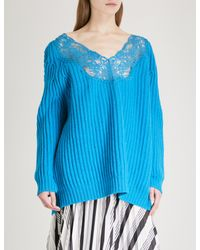 Lyst - Balenciaga Lace-trimmed Wool Sweater in Blue a5959fe8e