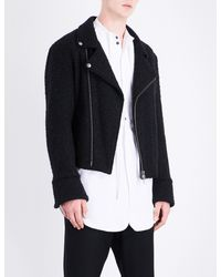 Ann Demeulemeester - Black Biker-collar Wool-blend Jacket for Men - Lyst