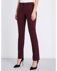 Theory Red Hartsdale Straight Mid-rise Stretch-wool Trousers