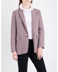 Sandro Multicolor Houndstooth Tweed Blazer