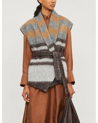 Brunello Cucinelli Gray Striped Wool-blend Cardigan