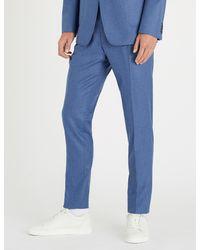 Tiger Of Sweden Blue Slim-fit Skinny Wool-flannel Trousers for men