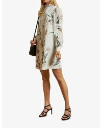 Ted Baker Multicolor Elderflower Floral-print Crepe Mini Dress