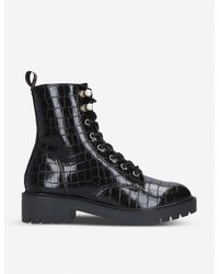 KG by Kurt Geiger Black Tilly Mock-croc Faux-leather Ankle Boots