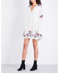 Free People - Multicolor Te Amo Floral-embroidered Woven Dress - Lyst