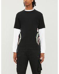 A Bathing Ape Black Shark-print Cotton-jersey T-shirt for men