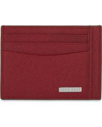 BOSS - Red Signature Leather Card Holder - Lyst