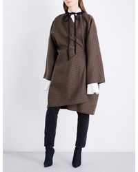Balenciaga - Brown Robe Wool-blend Coat - Lyst