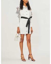 Maje White Relia Striped Cold-shoulder Woven Dress