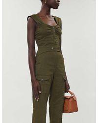 Pinko Green Carletto Linen-blend Top