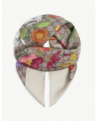 Gucci Multicolor GG Flora Print Silk Scarf