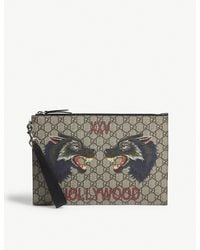 Gucci Natural Bestiary Wolf Gg Supreme Pouch