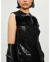 Yang Li Black Sleeveless Embellished-pattern Sequins Midi Dress