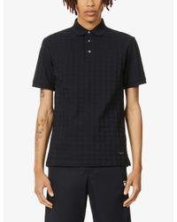 Emporio Armani Black Houndstooth Cotton-knot Polo Shirt for men