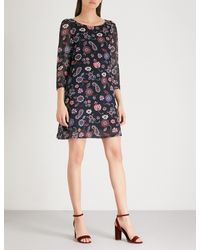 Claudie Pierlot Blue Floral And Paisley-print Chiffon-crepe Dress