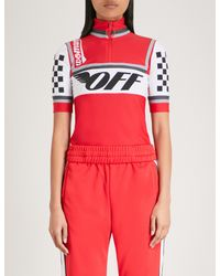 Off-White c/o Virgil Abloh Red Logo-print Stretch Cycling Top