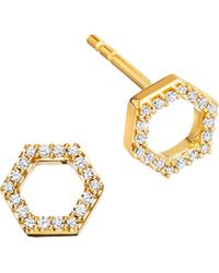 Astley Clarke - Honeycomb 14ct Yellow Gold And Diamond Stud Earrings - Lyst