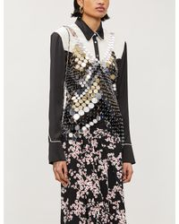 Paco Rabanne Black V-neck Chainmail Top