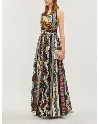 Oscar de la Renta Multicolor Printed Jacquard And Chiffon Gown