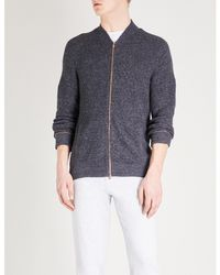 Brunello Cucinelli Gray Marled Cotton Bomber Jacket for men