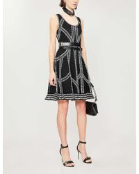 Alexander McQueen Black Patterned Woven Mini Dress